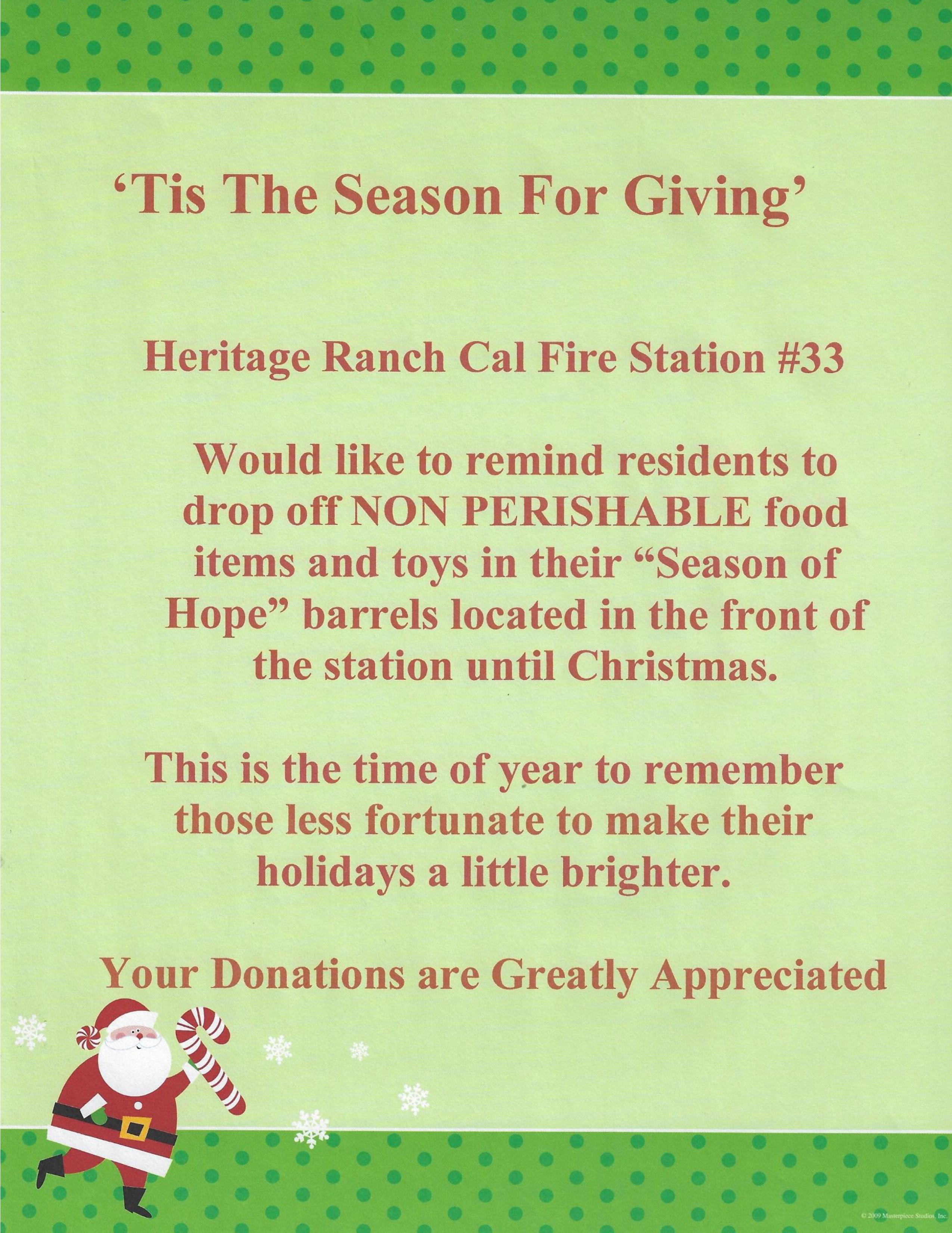 Cal Fire Food Drive 2020 - Drop off food at the Cal Fire Station #33